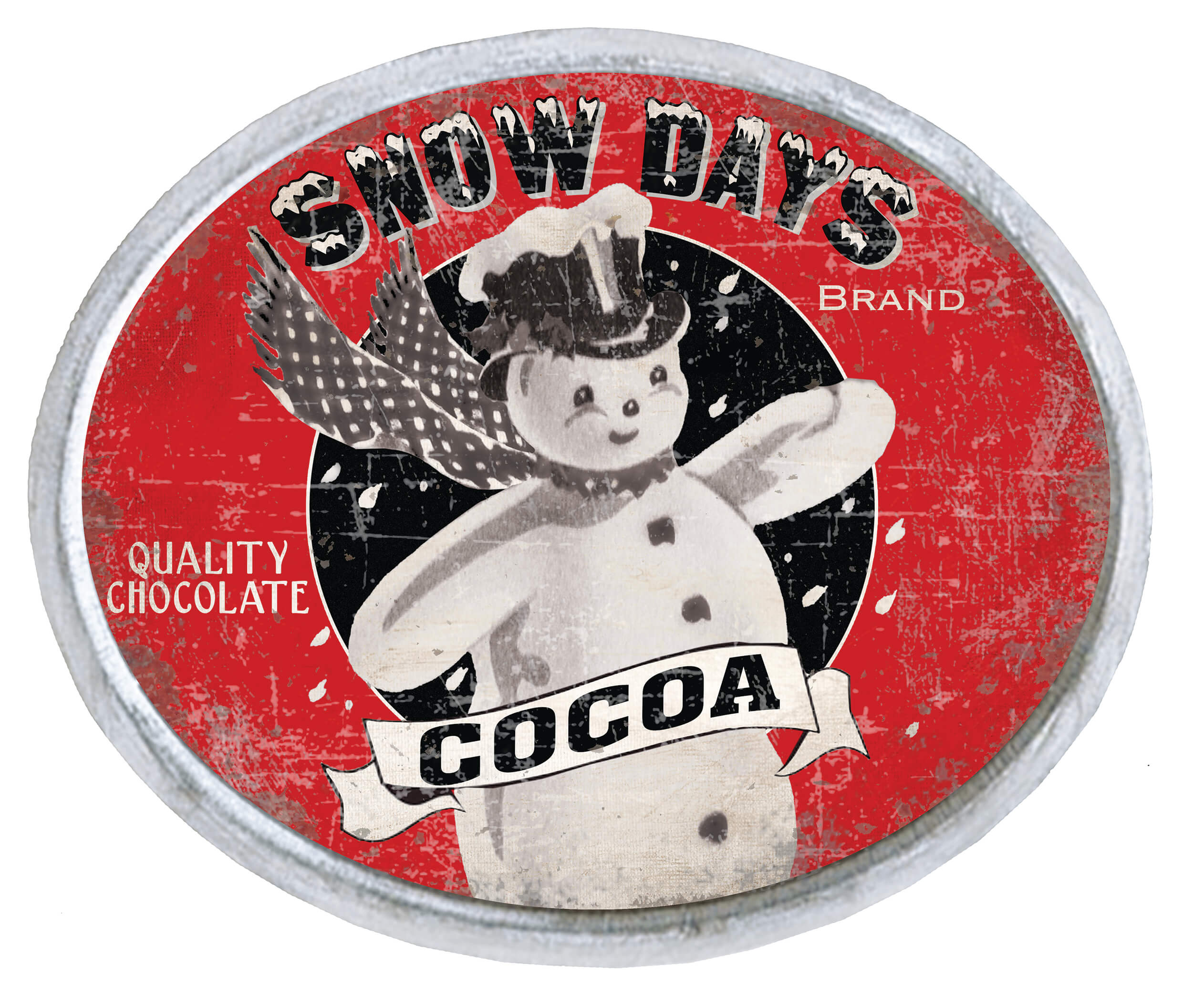 Vintage Snowman Cocoa Sign on Tin